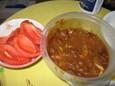 ネギカレーとトマト