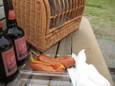 赤レンガ地ビール(380円)&骨付きフランク(350円)