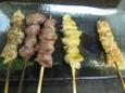 シロ、カシラ、すなぎも(90円)皮カレー焼、ぼんちり(110円)